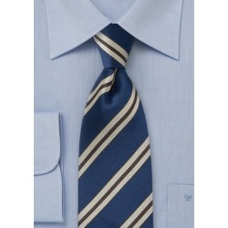 Retro Striped Tie in Dark Blues, Tans and Browns