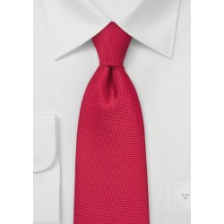 Bright Red Kids Tie with Textured Weave