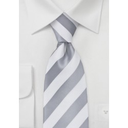 White and Silver Striped Tie for Kids
