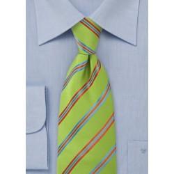 Striped Pea Green Tie