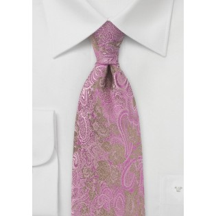 Gold and Fuchsia Silk Tie with Paisley and Floral Design