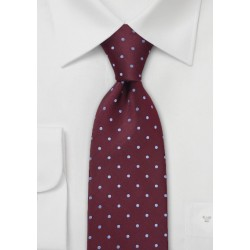 Kids Polka Dot Tie in Burgundy and Blue