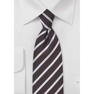 Dark Chocolate Striped Tie in Striped Style