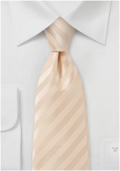 Handmade White Peach Toned Neck Tie