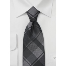 Oversized Plaid Kids Tie in Charcoals