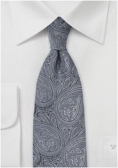 Ornate Paisley in Graphite and Silver