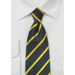 Charcoal and Golden-Yellow Striped Tie