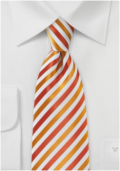 Cherry Red & Pumpkin Orange Striped Necktie