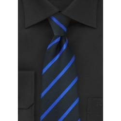 Black and Horizon Blue Striped Tie