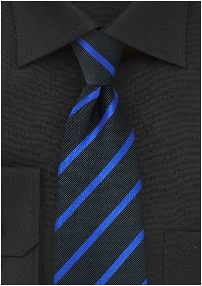 5e563c1d71a3 Trendy Black and Blue Striped Necktie