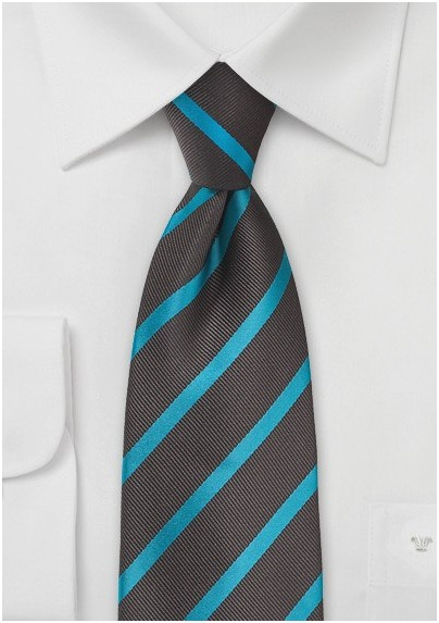 Espresso and Teal Striped Tie