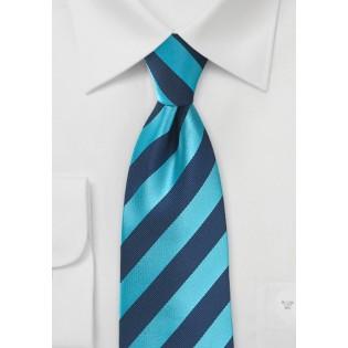 Men's Diagonal Striped Tie in Cyan and Navy