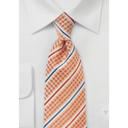 Orange Check & Striped Tie with Satin Finish