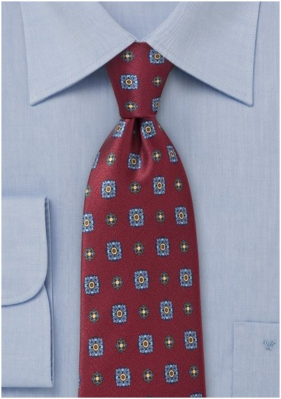 Burgundy Floral Tie by Cantucci