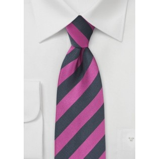 Striped Tie in Fuchsia and Navy