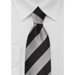 Kids Striped Necktie in Gray and Black