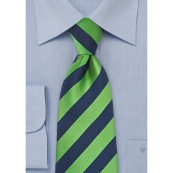 Kids Navy and Green Striped Tie