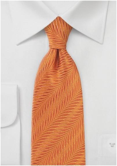 Monarch Orange Necktie in Pure Silk with Art-Deco Style