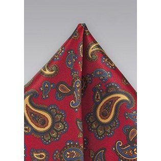 Paisley Pocket Square in Imperial Red