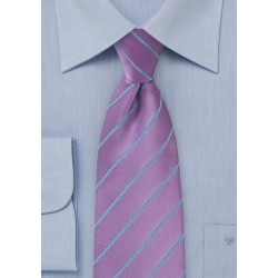 Bold Wisteria Hued Necktie with Cornflower Blue Accents