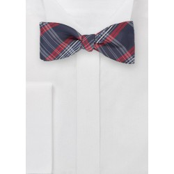 Tartan Plaid Bow Tie in Reds and Navys