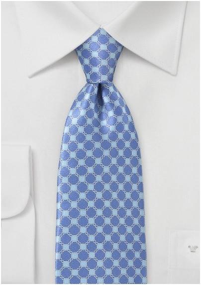 Art Deco Patterned Tie in Blues
