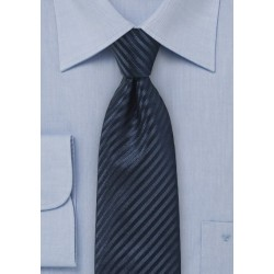 Textured Striped Silk Tie in Dark Navy