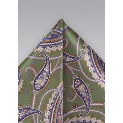 Designer Paisley Tie in Muted Greens