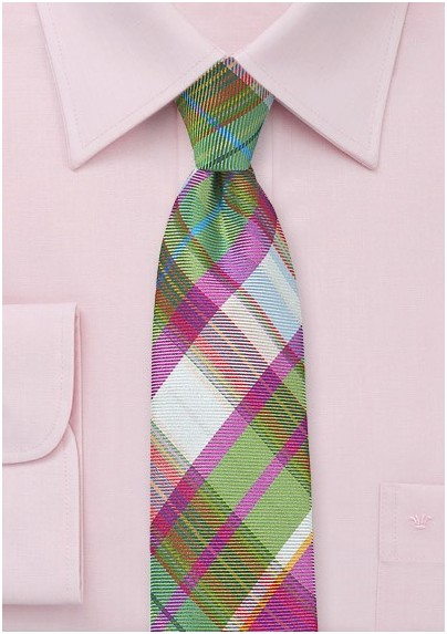Slim Tailored Plaid Tie in Pinks and Greens