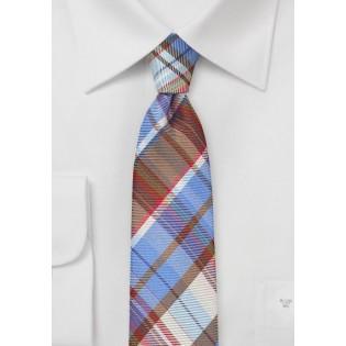 Slim Plaid Patterned Tie in Blues