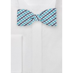 Gingham Self Tie Bow Tie in Blues