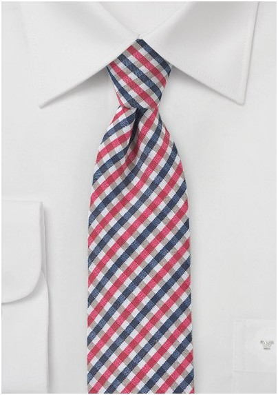 Slim Gingham Tie in Pinks and Blues