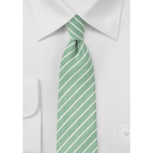 Skinny Summer Linen Tie in Pale Green