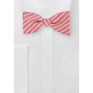 Red Linen Self Tie Bow Tie