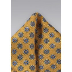 Golden Amber Silk Pocket Square