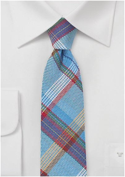 Textured Madras Plaid Skinny Tie in Blue