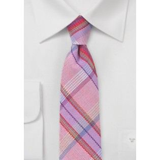 Pink Cotton Tie with Madras Check