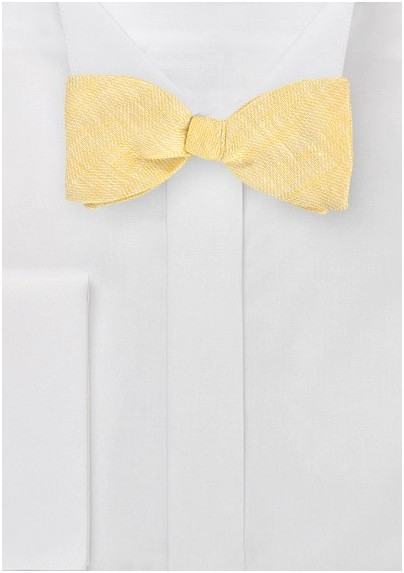 Linen Bow Tie in Vintage Yellow