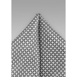 Silver and Gray Patterned Pocket Square