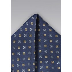Navy and Yellow Floral Pocket Square