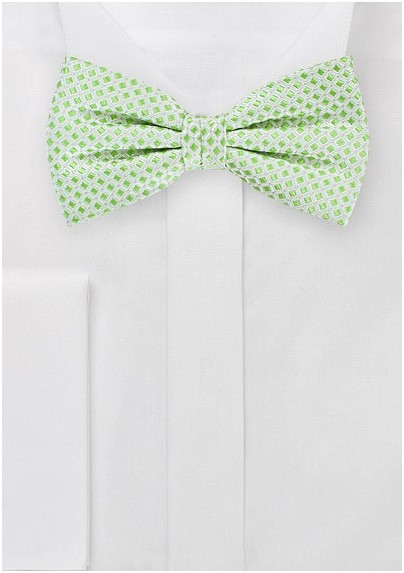 Square Patterned Bow Tie in Silver and Lime