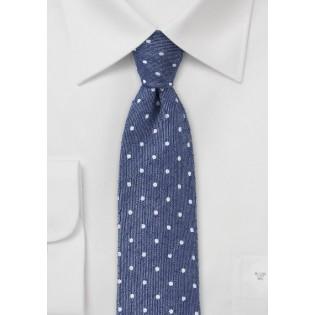 Textured Polka Dot Skinny Tie in Navy