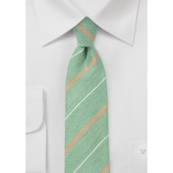 Vintage Striped Skinny Tie in Green