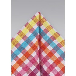 Bright Gingham Patterned Pocket Square