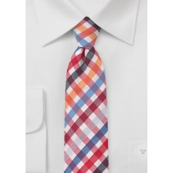 Seersucker Necktie in Red and Blue