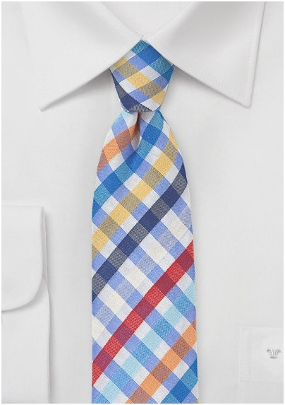 Seersucker Summer Tie in Blue
