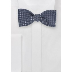 Twilight Blue Self-Tied Bowtie with Square Pattern