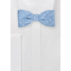 Modern Light Blue Bowtie with Polka Dot Design