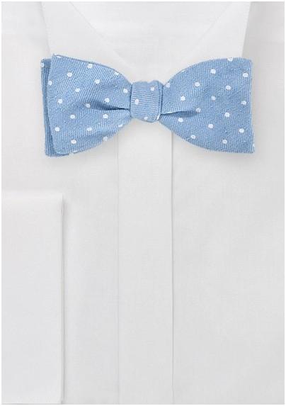 Modern Light Blue Bowtie with Polka Dot Design