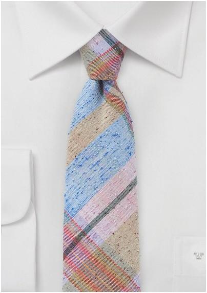 Pink, Blue, Tan Plaid Skinny Tie